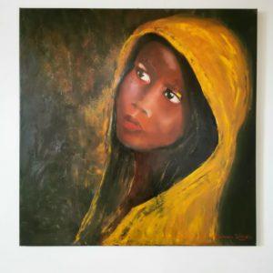 Obraz na ścianę ręcznie malowany. Przedstawia portret dziewczyny, motyw afrykański.. Nastrojowy obraz w brązowo żółtych kolorach.