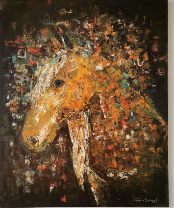 Piękny obraz z motywem konia. Przedstawia portret konia, malowany farbami olejnymi grubą warstwą szpachli.. Bardzo kolorowy i energetyczny obraz do powieszenia na ścianę. Bardzo duży format do salonu, hotelu.