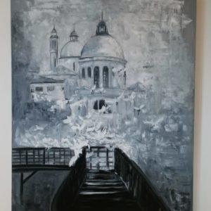 Duży obraz na ścianę, ręcznie malowany farbami olejnymi . Obraz przedstawia architekturę z bazyliką.