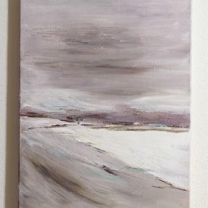 Własnoręcznie malowany obraz farbami olejnymi. Obraz przedstawia polski zimowy krajobraz. Obraz namalowany jest na płótnie w jasnych kolorach.