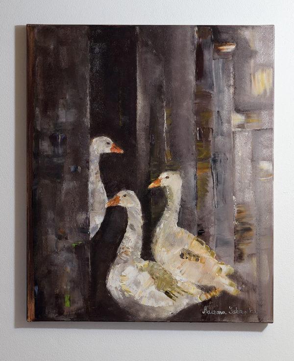 Obraz na ścianę malowany ręcznie , przedstawia gęsi w zagrodzie. Obraz w brązowych kolorach malowany farbami olejnymi.