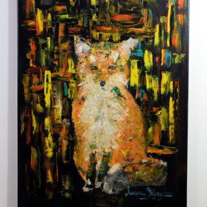 Obraz malowany farbami olejnymi przedstawia portret lisa. Obraz malowany szpachelką. Obraz bardzo kolorowy.