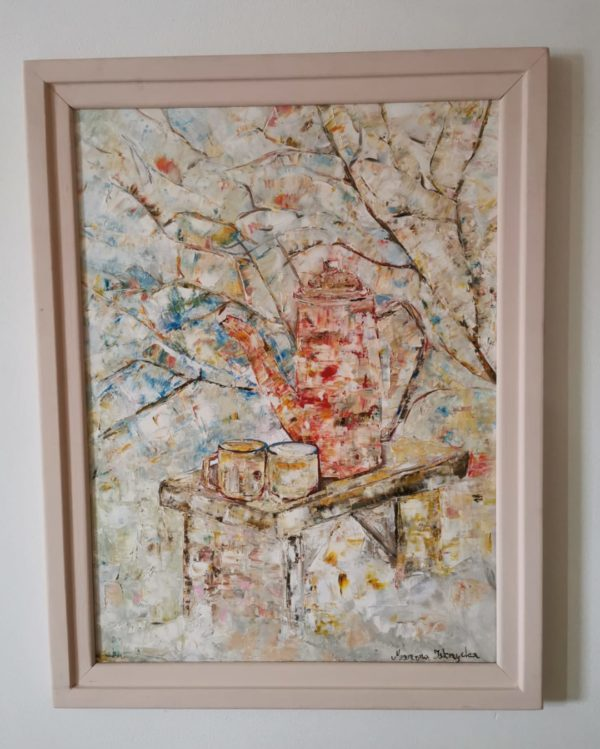 Obraz malowany ręcznie na płótnie farbami olejnymi. Obraz przedstawia martwą naturę na śniegu.